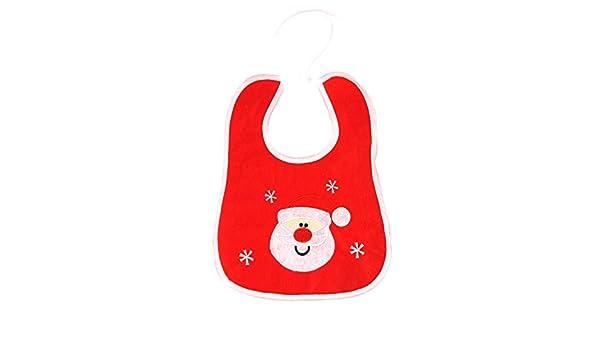Navidad bebé recién nacido babero Xmas Nursery alimentación, diseño de Papá Noel bordado regalo Talla:recién nacido: Amazon.es: Bebé