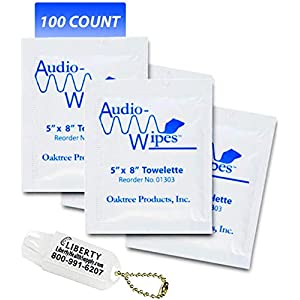 Audio-Wipes Cleaning Towelettes, Individually Wrapped, Package of 100 and Liberty Hearing Aid Battery Keychain