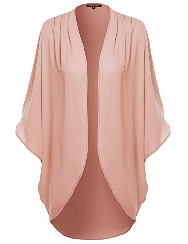 Made by Emma Solid Short Sleeve Open-Front Kimono Style Cardigan Blush 2XL
