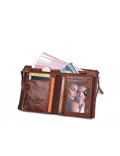 Lareinea Men Genuine Leather Cowhide Zip Wallet Vintage Bifold with Double Zipper Pockets (Brown) by Lareinae (Image #5)