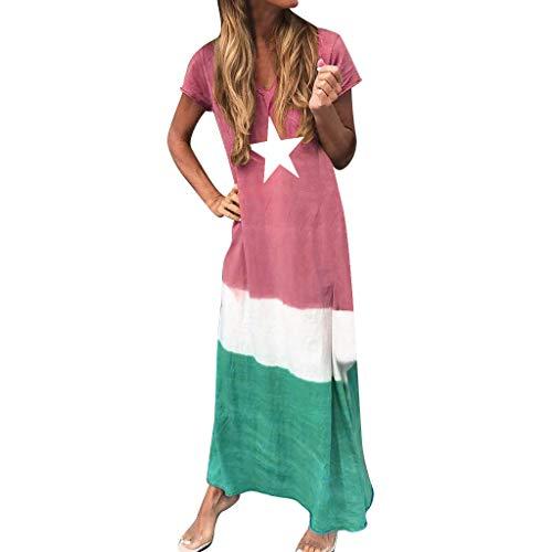 iLOOSKR Women V-Neck Short Sleeve Straight Dress Five-Pointed Star Print Color Block Patchwork Maxi Bohemia Dress Red