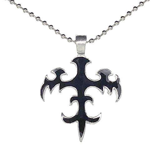 Ohdeal4U Tribal Fleur de lis Phoenix Black Pewter Pendant Necklace Silver Ball ()