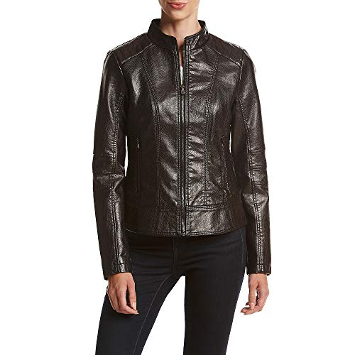 Guess Women's Faux-Leather Textured Bomber Jacket Black ()