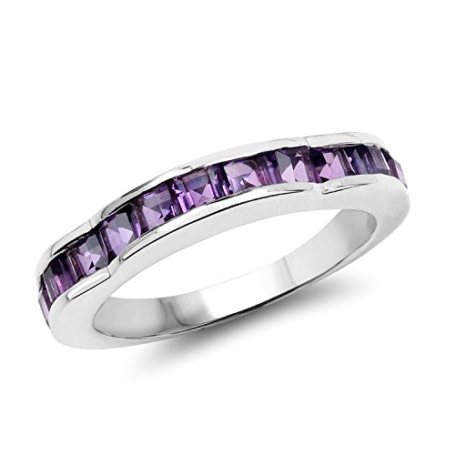 - 3.00MM Square Amethyst Ring in .925 Sterling Silver, Real Genuine Amethyst Mother's Day Gift (1.68ctw)