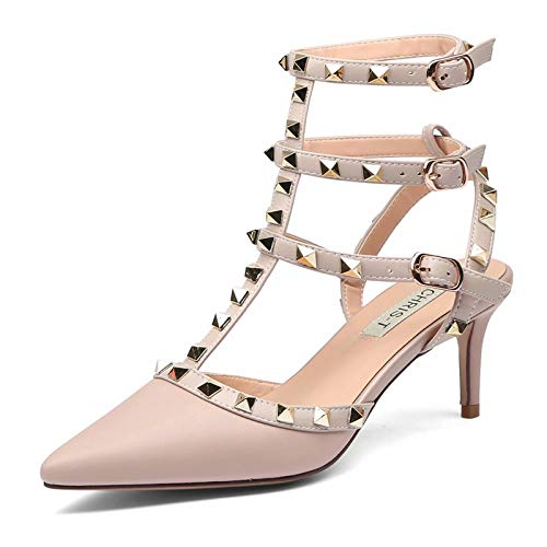 Chris-T Women Pointed Toe Studded Slingback Kitten Heel Leather Pumps -