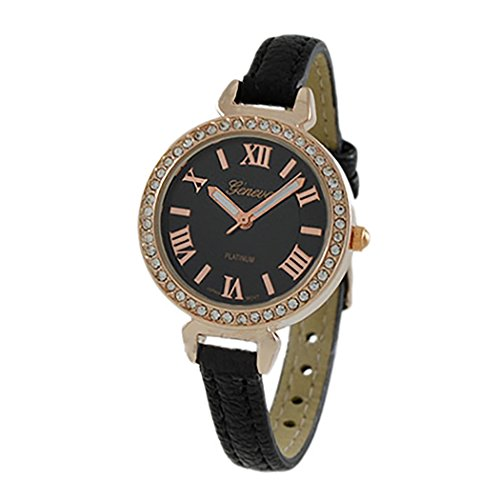 Rosemarie Collections Women's Round Rhinestone and Roman Numeral Geneva Fashion Watch - Mens Geneva Collection
