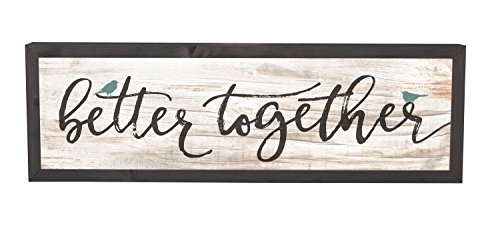 P. Graham Dunn Better Together Birds White Wash Grey 25 x 8 Inch Solid Pine Wood Farmhouse Frame Wall Plaque