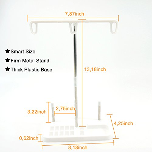 Light Weight Thread Stand - 3 Spools Holder for Domestic (Home-Base) Embroidery and Sewing Machines - Three Colors for Choices - White