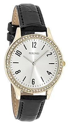 Ferenzi Women's | Fashion Rhinestone Gold Watch with Black Croc PU Strap | FZ17601