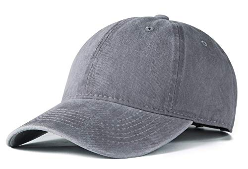 (ROWILUX Vintage Washed Twill Cotton Baseball Caps Low Profile Dad Hat, Grey)