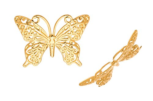 Brass Link, 16K Gold-Finished Filigree Butterfly Lacy Link 26x36mm sold per pack of 8pcs (2pack bundle), SAVE $1