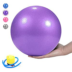 Pilates Ball, Barre Ball, Mini Exercise Ball, 9 Inch-Small Bender Ball for Pilates, Yoga, Core Training and Physical Therapy, Anti Burst & Slip Resistant Balance Ball with Quick Foot Pump (Purle)