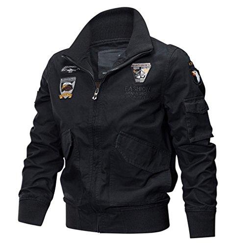 Price comparison product image ParkGorman MA1 Military Jacket Men Winter Thermal Cotton Jacket Coat Army Pilot Jackets Air Force Cargo Coat TD-QZQQ-005 Black XL