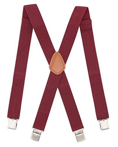 Bioterti Men's Heavy Duty X- Back Suspenders-Adjustable Size, Long & Elastic Braces (Burgundy)