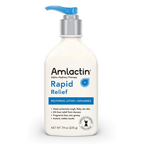 AmLactin Rapid Relief Restoring Lotion + Ceramides | 24-Hr Dry Skin Relief | Powerful Alpha-Hydroxy Therapy Gently Exfoliates | Lactic Acid (AHA) Restores Rough Flaky Dry Skin | Paraben-Free 7.9 oz.