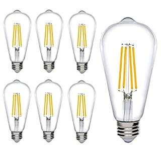 Bioluz LED Extra Warm Dimmable Edison Light Bulbs 700 Lumen Very Warm White 2200K 60W Replacement ST64 / ST19 / ST58 7W E26 Standard Base Pack of 6
