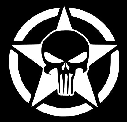 """2 Military Army Star Circle Skull Star Hood Decal set 14/"""" x 14/"""" Multiple colors"""