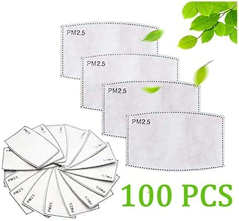 PM 2.5 Filter Replacement for Bandana, Activated Carbon Protective Filter 5 Layers Anti Haze Filters Replaceable (100,Children)
