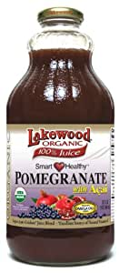 Lakewood Organic Smart Healthy Pomegranate with Acai Juice, 32-Ounce Bottles (Pack of 6)
