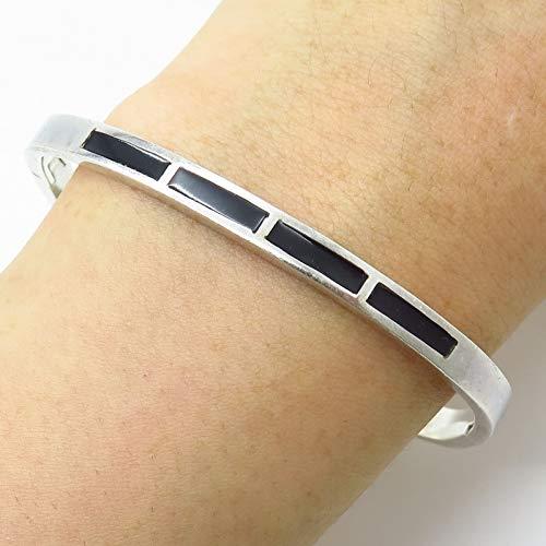 (VTG Mexico 950 Silver Black Onyx Gem Hinged Bangle Bracelet 7 1/4