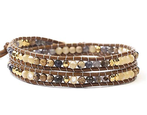 Chan Luu Blue and Beige Mix Mineral Stones with Goldtone Nugget Beaded Dark Brown Leather Wrap Bracelet