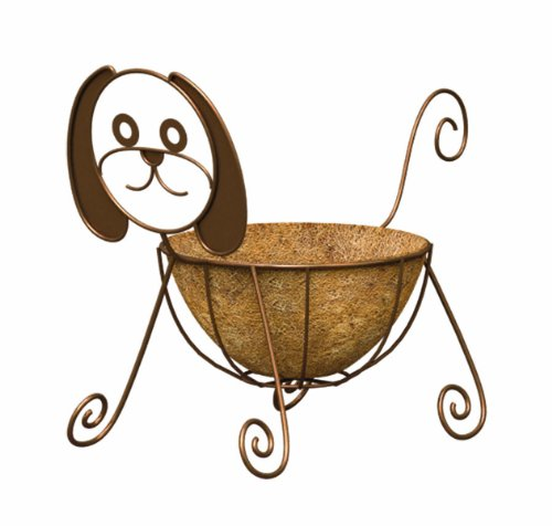 - Panacea 86656 Dog Planter with 10-Inch Coco Liner, 15.25-Inch Height, Rust Powder Coated Finish