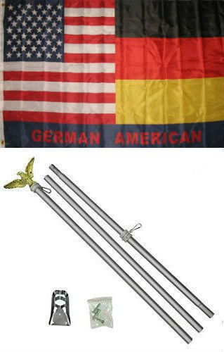 ALBATROS 3 ft x 5 ft German Germany American USA Flag Aluminum with Pole Kit Set for Home and Parades, Official Party, All Weather Indoors Outdoors