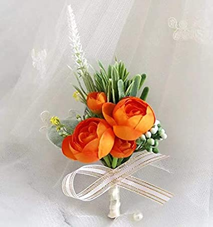 Groom Groomsman Best Man and Girl Brides Rose Orange Easin 2Pcs Boutonniere Buttonholes and Wrist Corsage Wristband Roses Wrist Corsage