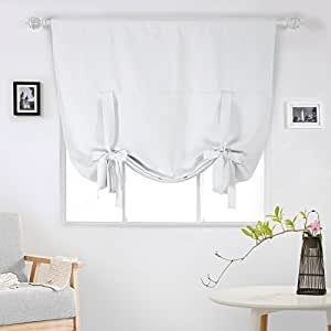 Deconovo rod pocket blackout curtain tie up shade window panels for living room and for Balloon curtains for living room