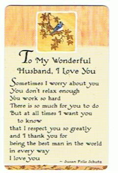 To My Wonderful Husband I Love You Plastic Wallet Card By Blue