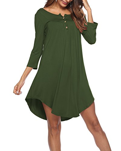 551eb53d035 Womens Dresses V Neck 3 4 Sleeve Button up Loose Fit Casual Tunic T Shirt