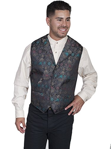 Scully RW271XX Mens Big And Tall Floral Print Vest, Black...