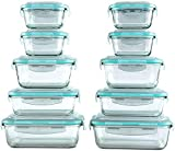 [20 Piece] Glass Food Storage Containers Set with Snap Lock Lids - Safe for Microwave, Oven, Dishwasher, Freezer - BPA Free - Airtight & Leakproof