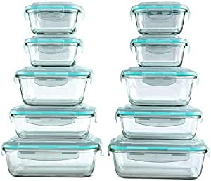 Amazon.com: [20 Piece] Glass Food Storage Containers Set