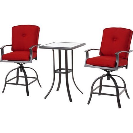 Mainstays Belden Park 3-Piece Swivel High Bistro Set with Plush reversible cushions with Velcro tabs for quick and easy cleaning (Swivel Bistro Bar)
