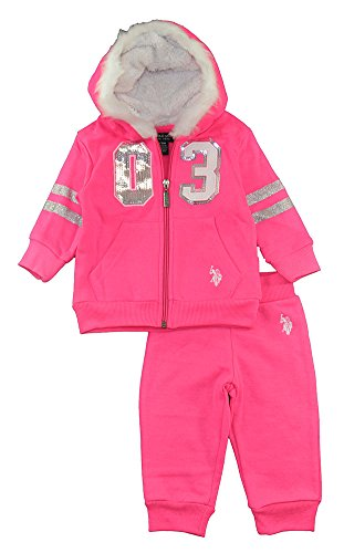 US Polo Assn Baby Girls Hoodie 2pc Sweat Pant Set (6/9M, Hot (Infant Sweatshirt And Sweatpants)