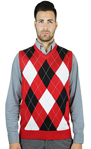 Blue Ocean Argyle Sweater Vest, Red, XXX-Large - Intarsia Knit Sweater
