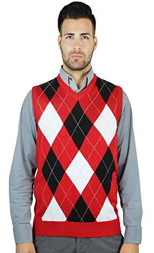 Blue Ocean Argyle Sweater Vest, Red, XXX-Large ()