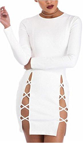 A Jaycargogo Maniche Lunghe Bianco Altalena Solido Femminile Girocollo Casuale Camicia Abito rtq6HEr
