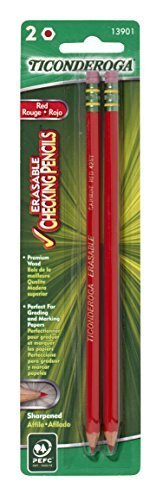 Dixon Ticonderoga Erasable Checking Pencils, Eraser Tipped, Pre-Sharpened, Red (13901) (1-Pack of 2) (Red Marking Pencil)