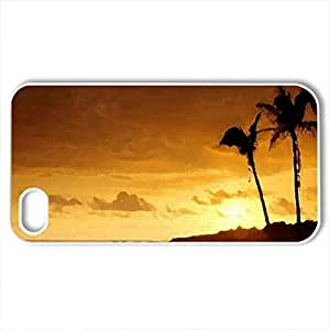 Beach Sunset - Case Cover for iPhone 4 and 4s (Beaches Series, Watercolor style, White) by icecream design