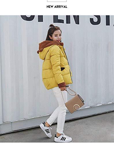 Con Cerniera Piumini Manica Moda Gelb Outwear Estilo Dolce Anteriori Caldo Stile Cappuccio Tasche Especial Lunga Giubbino Di Donna Giacca Invernali Yxq5wq4v