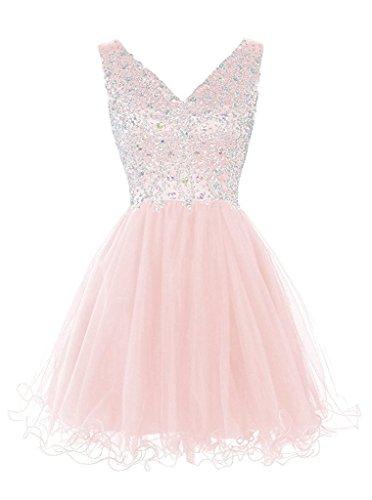 Partykleid Promkleid Tuell Kurz V Perlen Abendkleid Beliebt Rosa Steine Ausschnitt Ivydressing Damen Cocktailkleid T6w8W