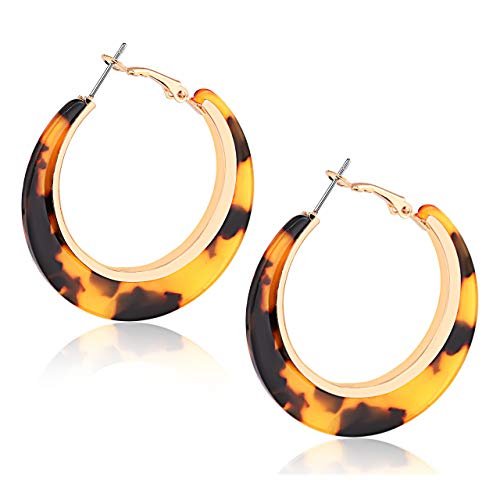 XOCARTIGE Acrylic Hoop Earrings for Women Tortoise Resin Earrings Bohemia Statement Dangle Earring Studs for Girls (B Dark Brown) ()