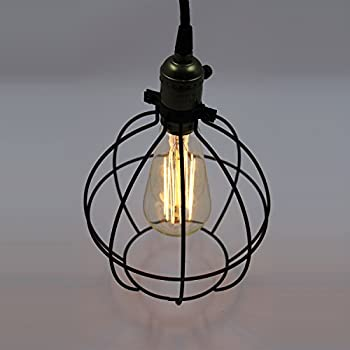 CLAXY Ecopower Light Vintage Style Industrial Hanging Light Mini Pendant  Wire Cage Lamp