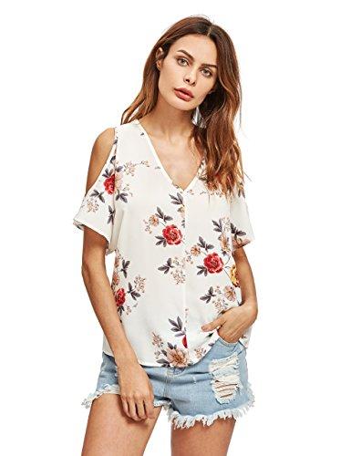 Romwe Womens Casual Cold Shoulder V Neck Floral Print Short Sleeve Blouse Shirt Top Beige L