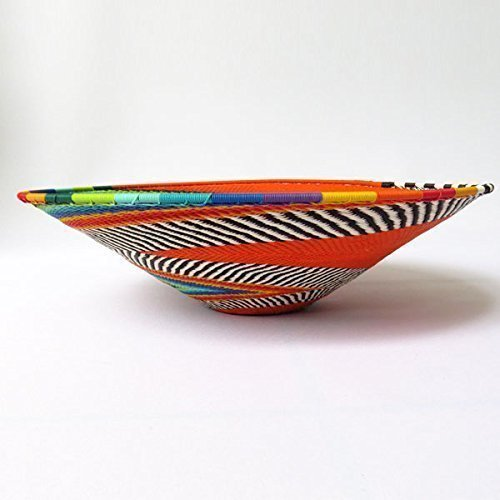 Large shallow bowl Orange and multicolour Gift from Africa African Zulu woven telephone wire bowl