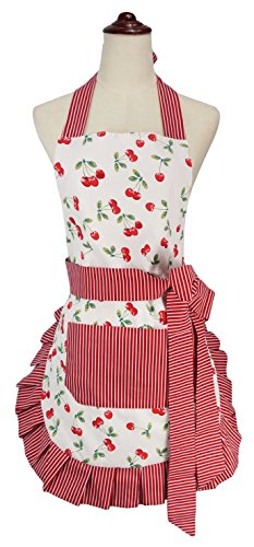 Ruffle Bow Waist Tie Kitchen Apron (Cherry)