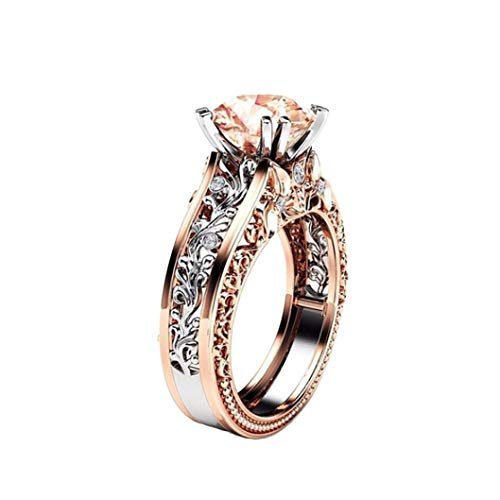 Gbell Fashion Romantic Cubic Zirconia Floral Statement Rings for Women - Ladies Rose Gold Silver Wedding Rings Engagement Jewelry Daily Life Gifts,Size 5 6 7 8 9 10 11 ()