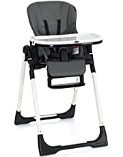 INFANS High Chair for Babies & Toddlers, Foldable Highchair with Multiple Adjustable Backrest, Footrest and Seat Height, Removable Tray, Detachable PU Leather Cushion, Built-in Rear Wheels